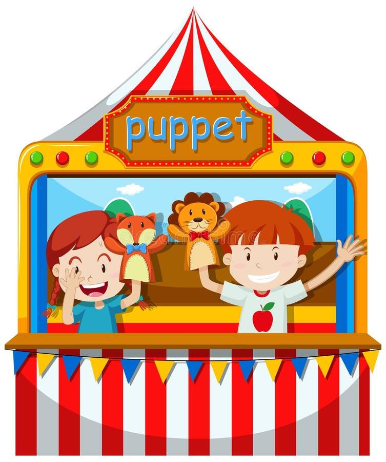 Kinder führen Puppenspiel auf Stadium durch lizenzfreie abbildung