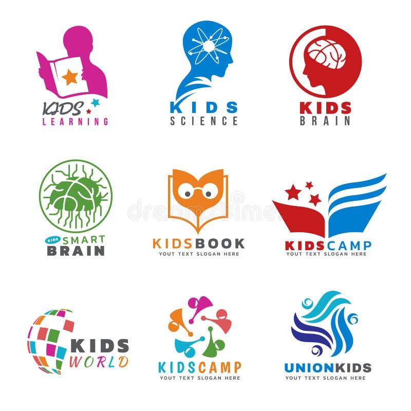 Kinder für Tätigkeiten und das Lernen des Logovektorbühnenbilds vektor abbildung