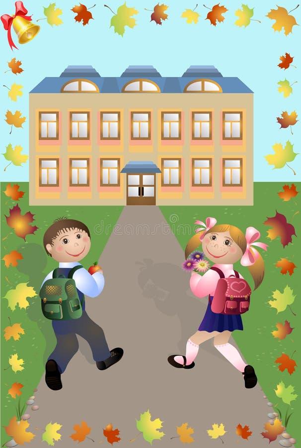 Kinder gehen in Schule lizenzfreie abbildung