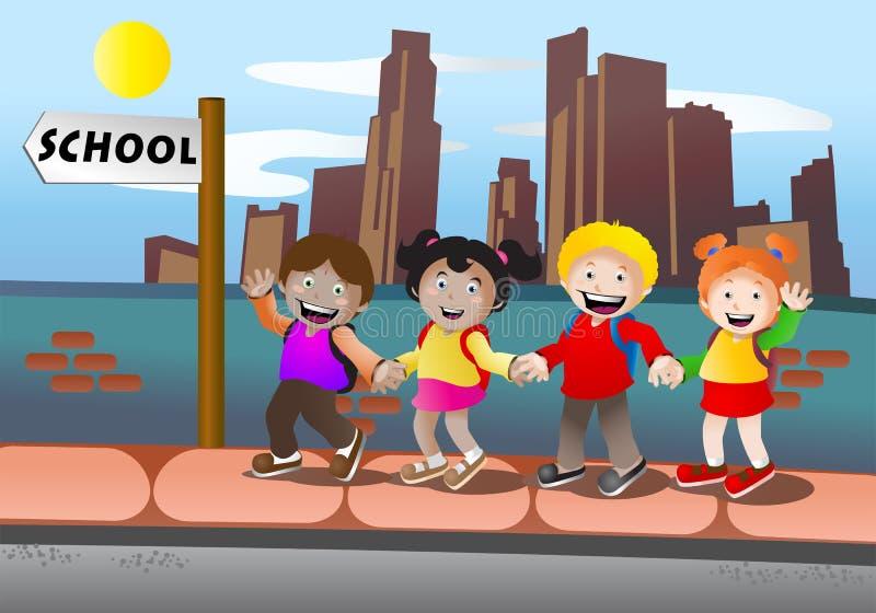 Kinder gehen zur Schule vektor abbildung