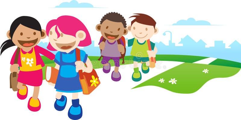 Kinder gehen zur Schule lizenzfreie abbildung
