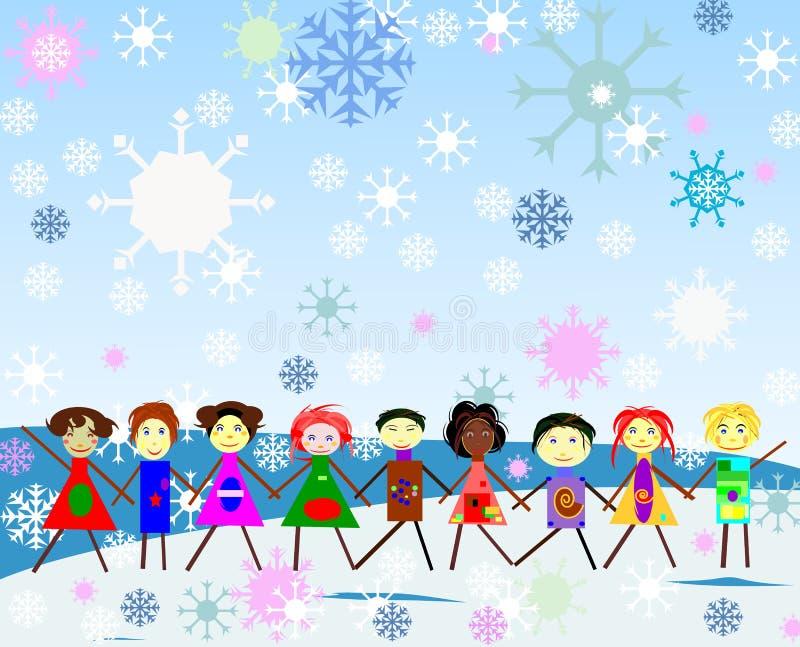 Kinder Haind-inhand, die in den Schneefällen spielt stock abbildung