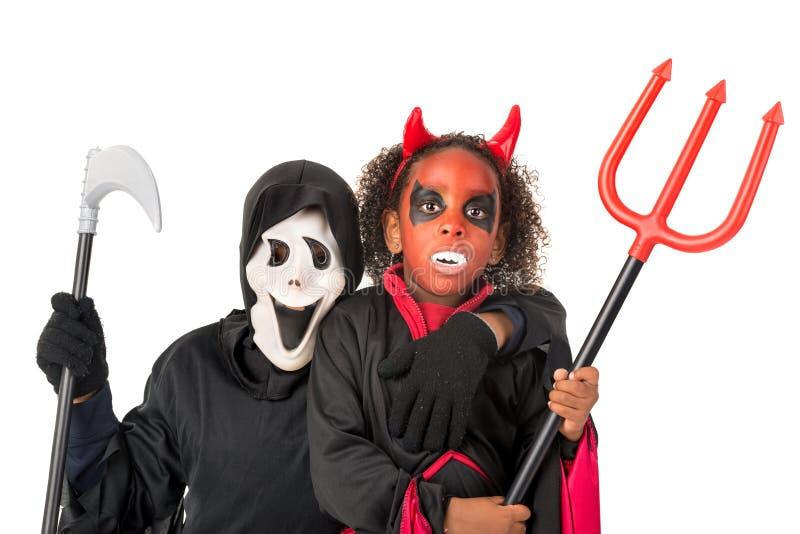 Kinder in Halloween stockbilder