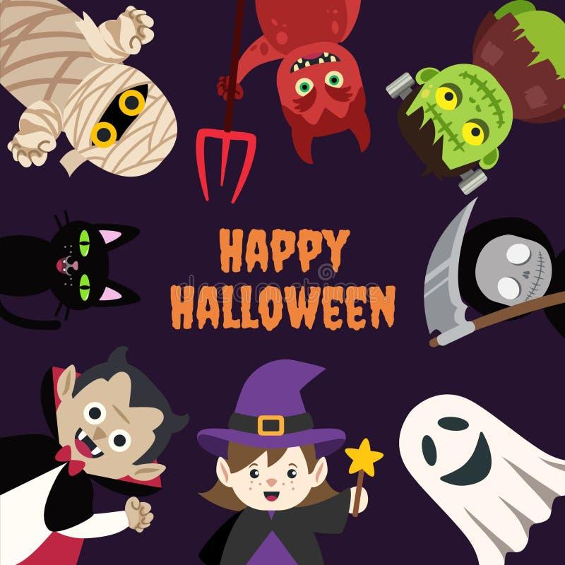 Kinder-Halloween-Karikatur-Monster mit Raum stock abbildung