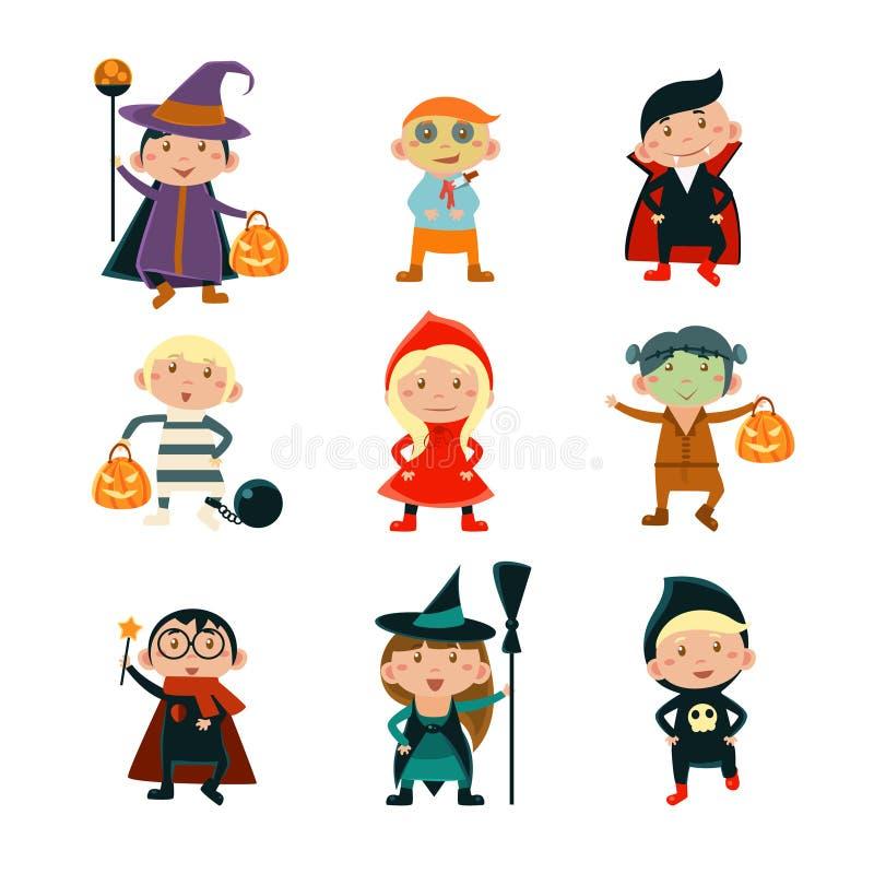 Kinder in Halloween kostümiert Vektor-Illustration lizenzfreie abbildung