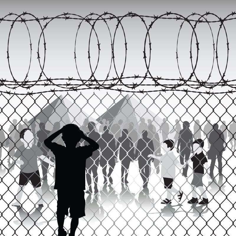 Kinder im Flüchtlingslager lizenzfreie abbildung