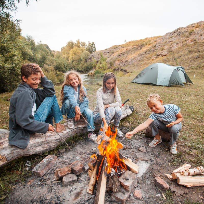 Kinder im Lager durch das Feuer lizenzfreies stockbild