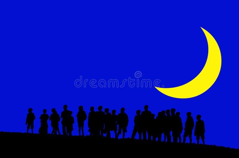 Kinder im Mondschein stockfoto