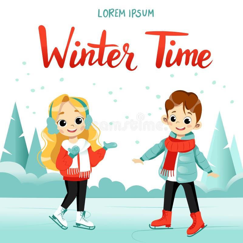Kinder im Winter Cute Cartoon Junge und Mädchen laufen zusammen auf dem gefrorenen See lizenzfreie abbildung