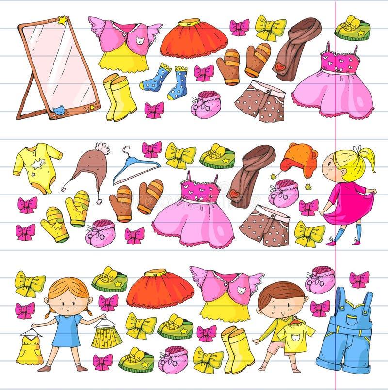 Kinder-Kleidung Kindergartenjungen und -mädchen mit neuer Kleidungssammlung der Kleidung kleidet, Hose, Schuhe, Hüte, Kappen an stock abbildung
