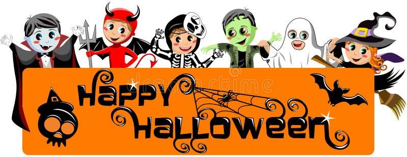 Kinder kostümieren glückliche Halloween-Fahne vektor abbildung