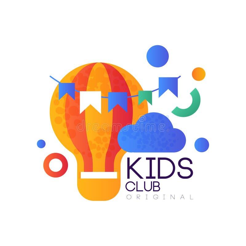 Kinder landen ursprüngliche, kreative Aufkleberschablone des Vereinlogos, Spielplatz, Unterhaltung oder pädagogisches Klubabzeich stock abbildung