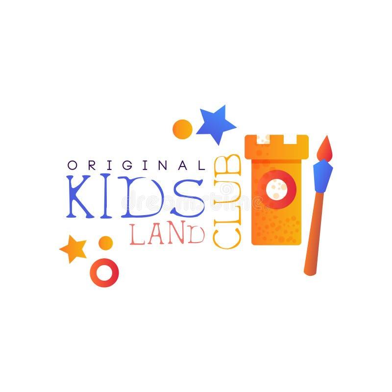 Kinder landen Vereinlogovorlage, bunte kreative Aufkleberschablone, Spielplatz, Unterhaltung oder pädagogisches Klubabzeichen vektor abbildung