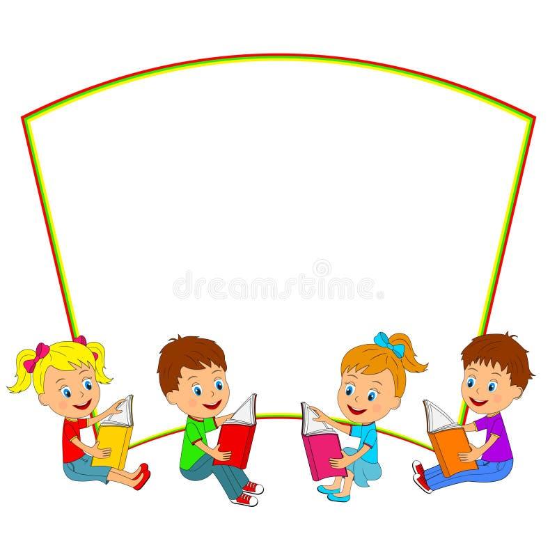 Kinder Lasen Bücher Und Rahmen Redaktionelles Stockfoto ...