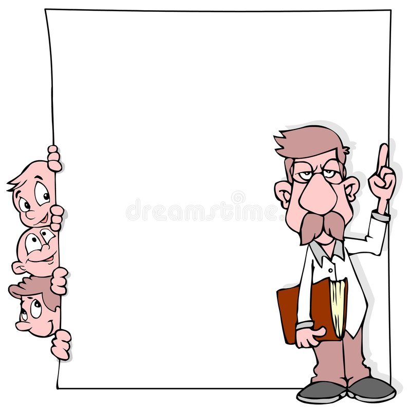 Kinder, Lehrer und Fahne lizenzfreie abbildung