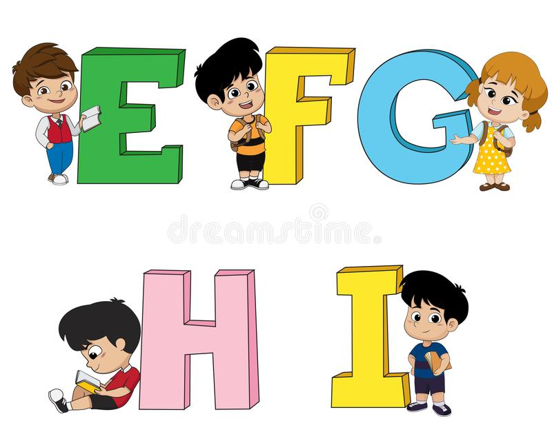 Kinder lernen das englische Alphabet Vektor und Illustration stock abbildung
