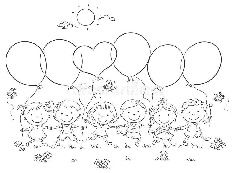 Kinder mit Ballon-Entwurf vektor abbildung