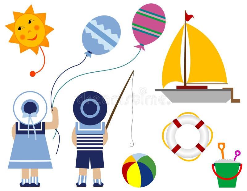 Kinder mit Ballon - Serie Kind lizenzfreie abbildung