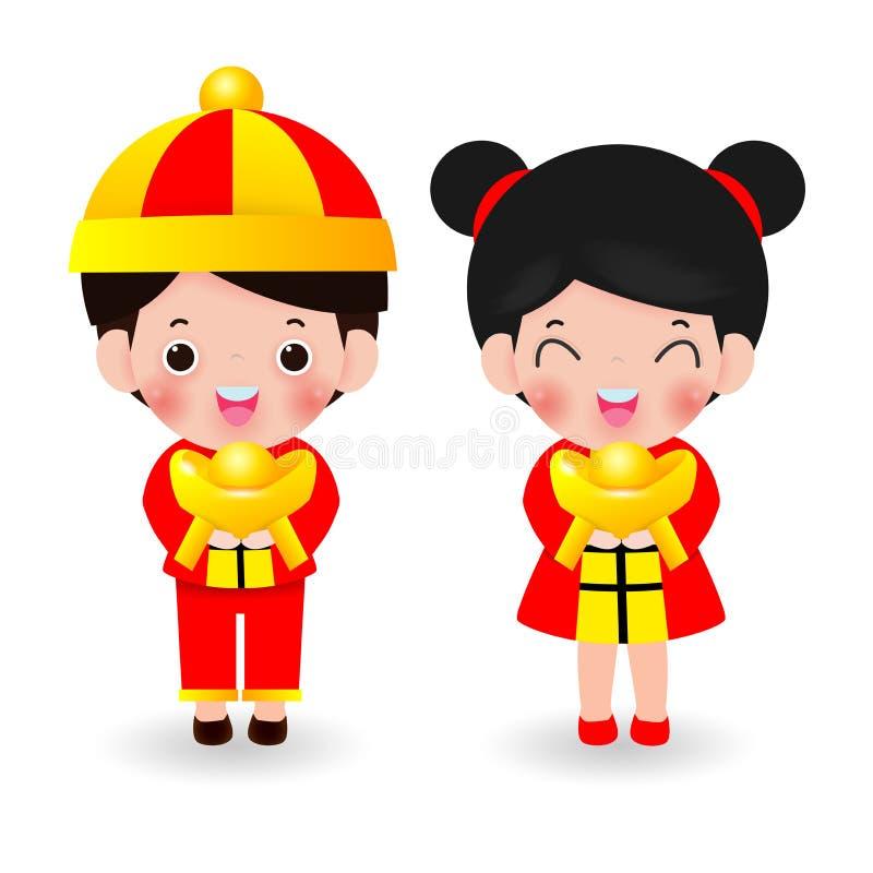 Kinder mit chinesischem Gold der Holding, glückliches chinesisches neues Jahr 2020, Kindkarikatur-Vektorillustration lokalisierte vektor abbildung