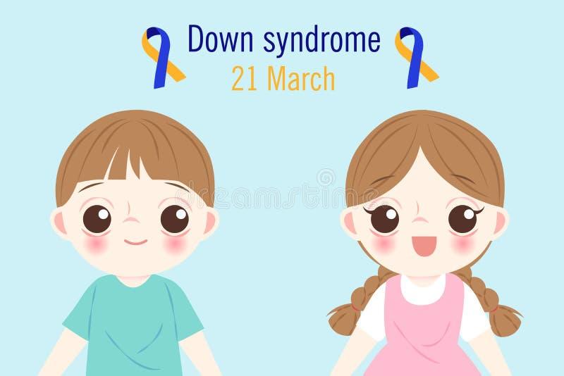 Kinder mit Down-Syndrom Konzept vektor abbildung