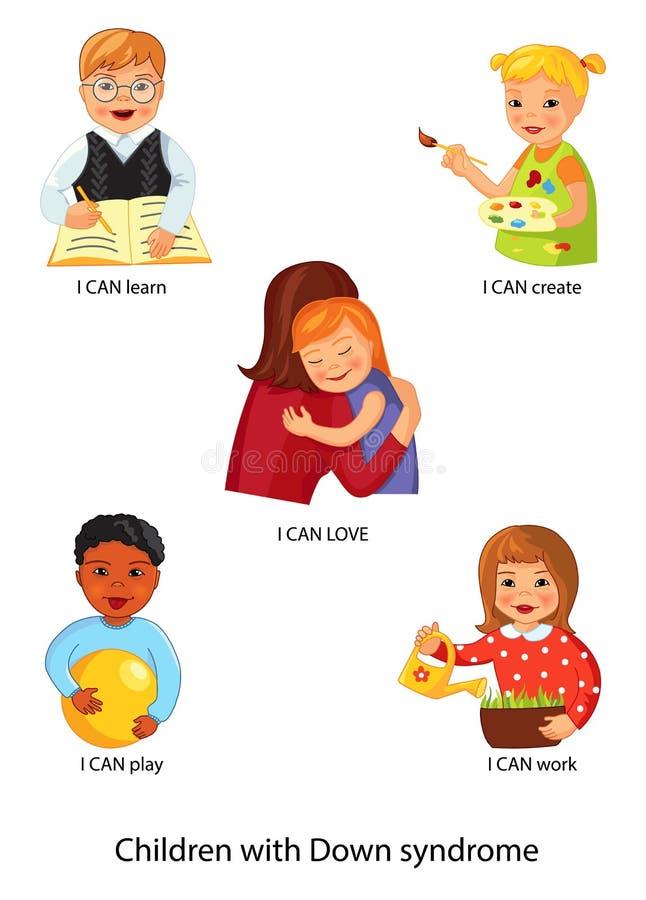 Kinder mit Down Syndrome lizenzfreie abbildung