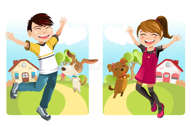 Kinder mit Hund vektor abbildung