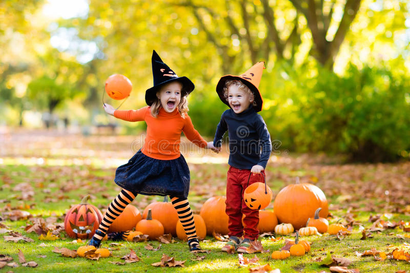 Kinder mit Kürbisen in Halloween-Kostümen lizenzfreie stockfotos