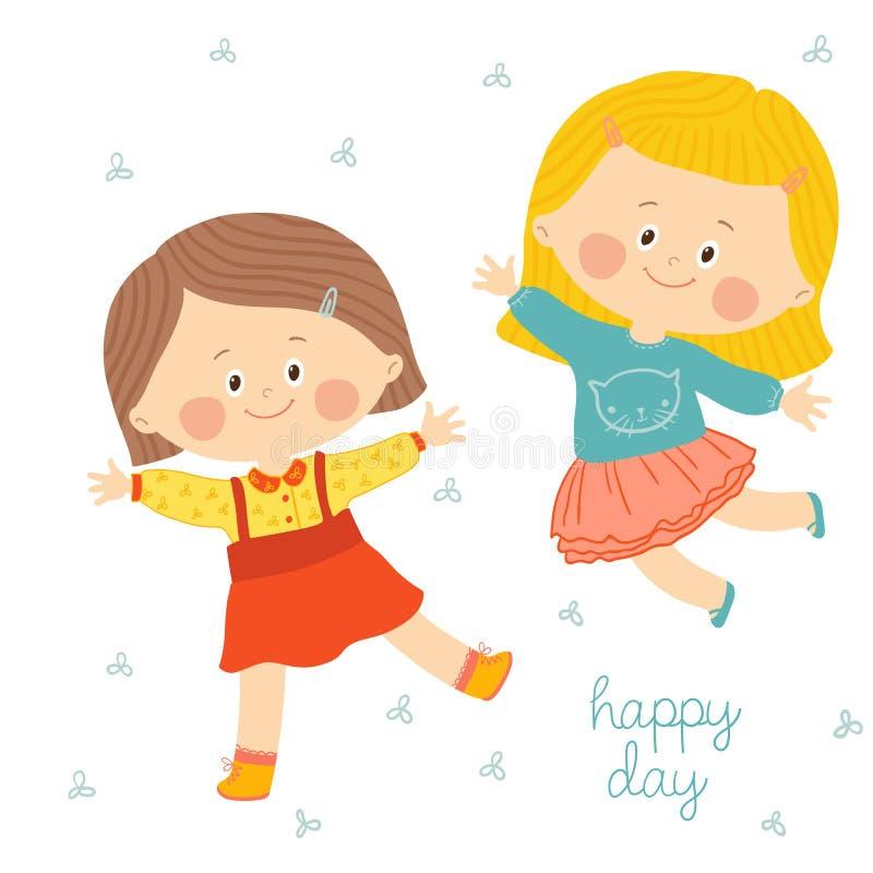 Kinder mit lächelnden Gesichtern spielen, springen und tanzen lizenzfreie abbildung