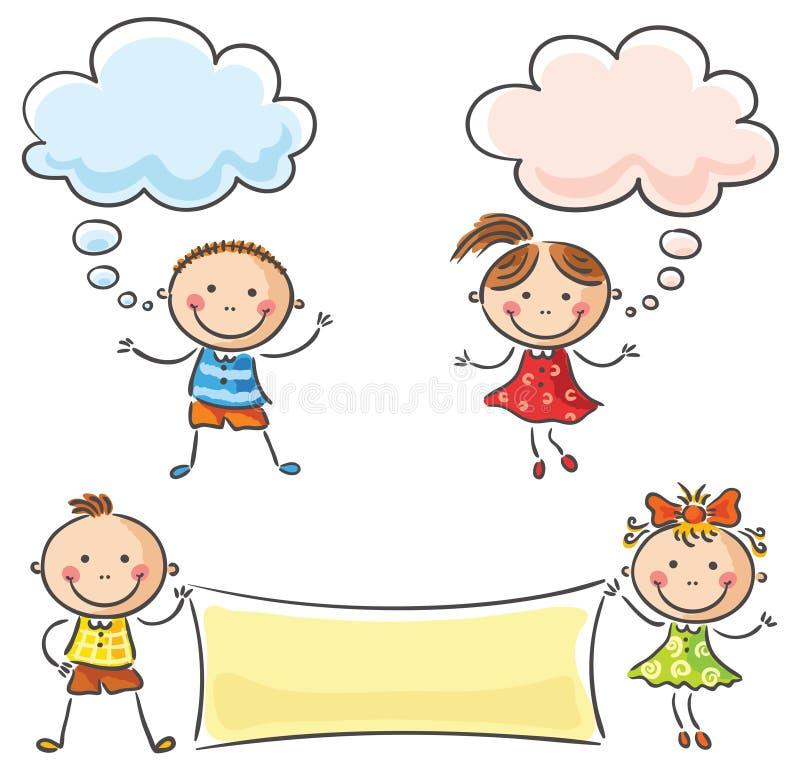 Kinder mit leeren Zeichen stock abbildung