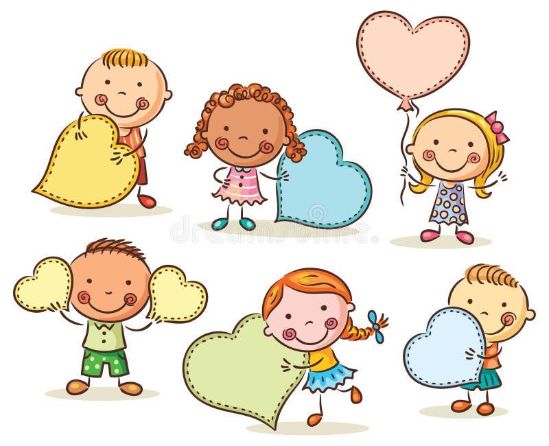 Kinder mit leeren Zeichen in Form von Herzen lizenzfreie abbildung