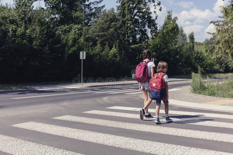Kinder mit Rucksäcken gehend durch Fußgängerübergang stockfotos