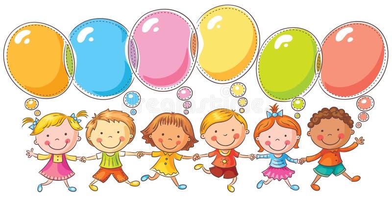 Kinder mit Spracheluftblasen lizenzfreie abbildung