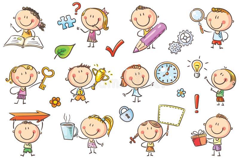 Kinder mit Symbolen lizenzfreie abbildung