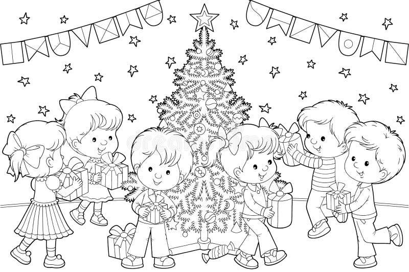 Kinder mit Weihnachtsgeschenken lizenzfreie abbildung