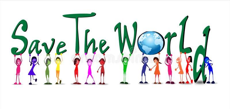 Kinder mit Wort außer der Welt stock abbildung