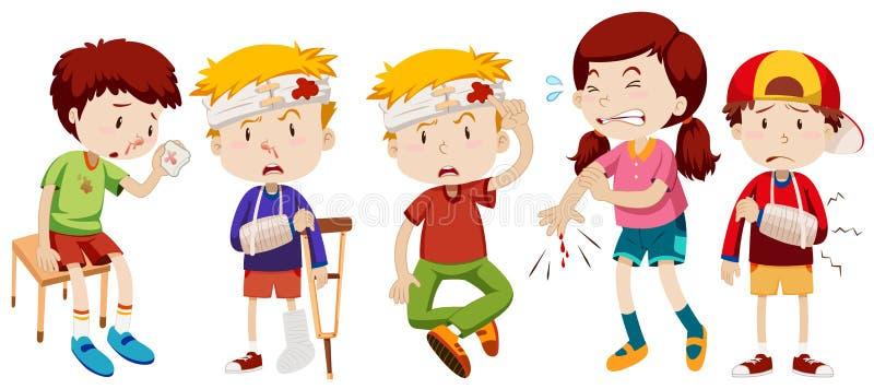 Kinder mit Wunden vom Unfall vektor abbildung