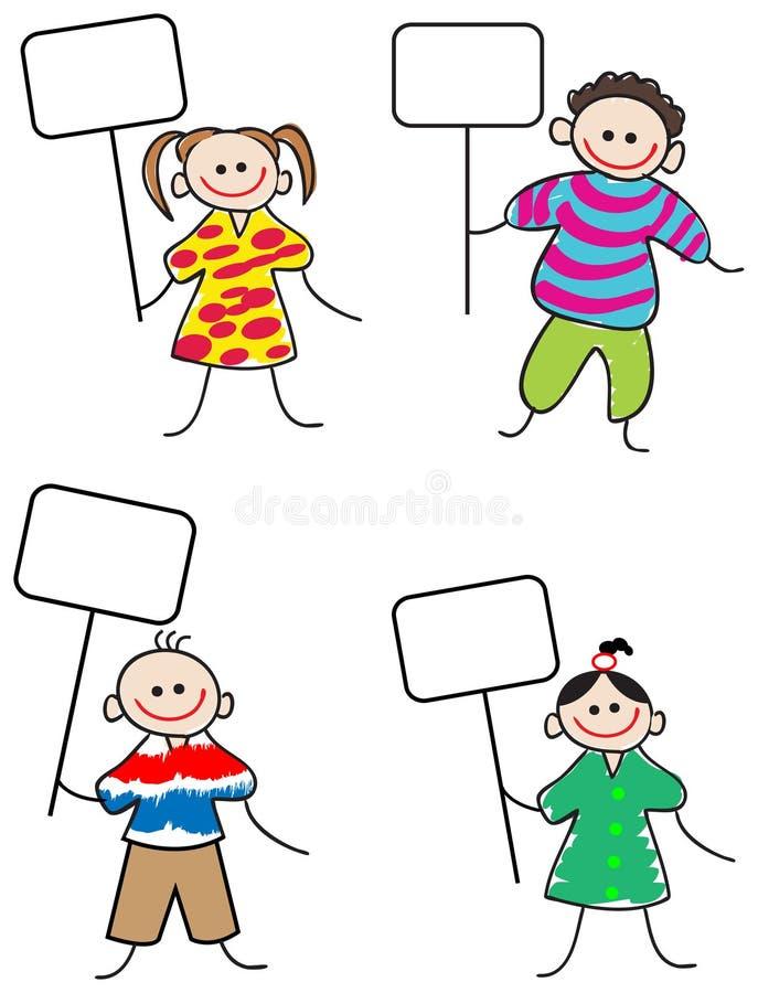 Kinder mit Zeichen stock abbildung