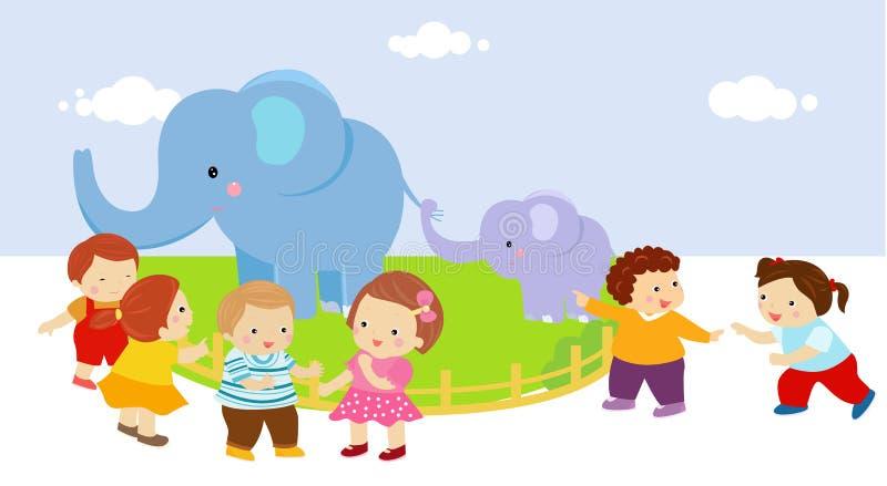 Kinder mit zwei Elefanten im Zoo stock abbildung