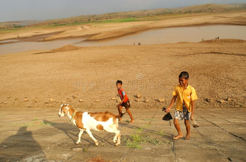 Kinder nahe dem Stausee Dawuhan, Wonoasri, Madiun lizenzfreie stockfotografie