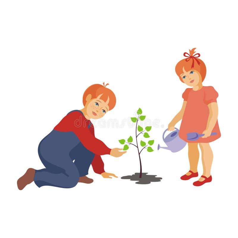 Kinder pflanzen einen Baum lizenzfreie abbildung