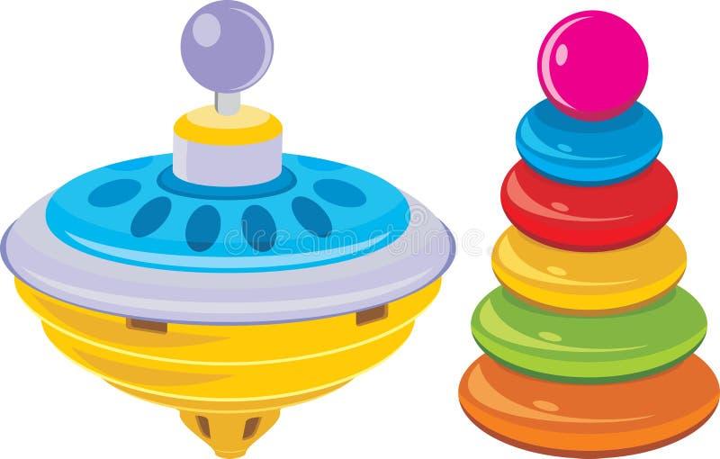 Kinder Pyramide und Whirligigspielzeug stock abbildung