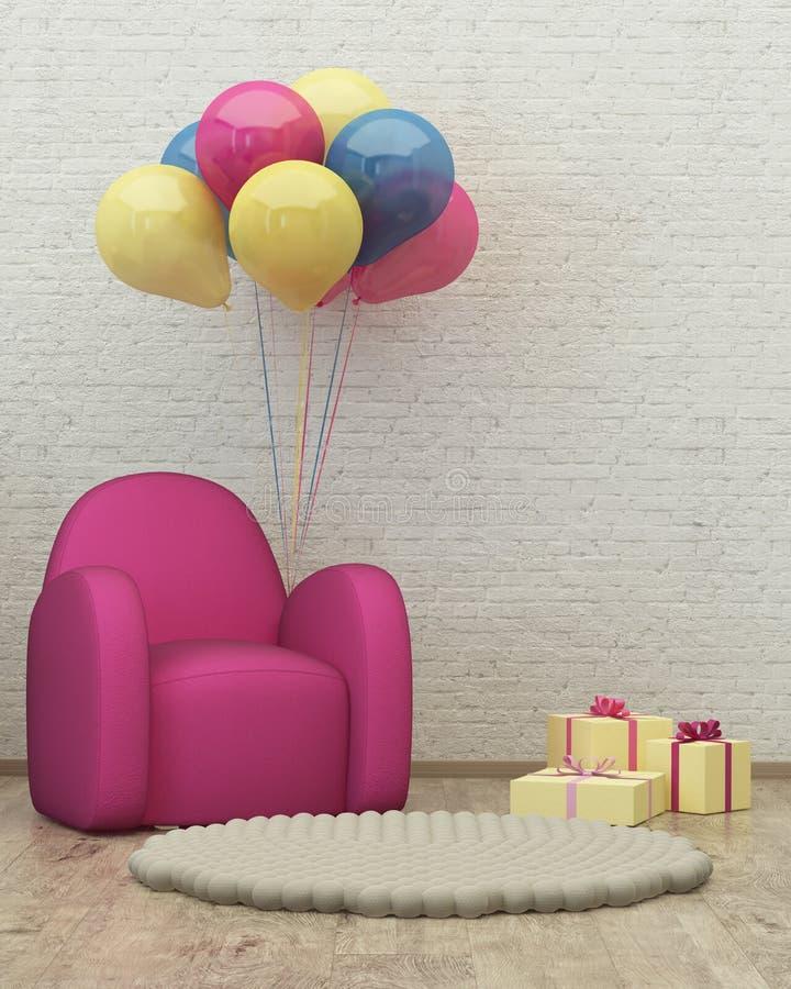 Kinder-Raum Innen-3d übertragen Bild, Puff, Ballone stock abbildung
