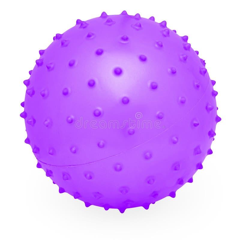 Kinder ringsum Silikon-aufblasbaren purpurroten knörrigen Ball stockfotos