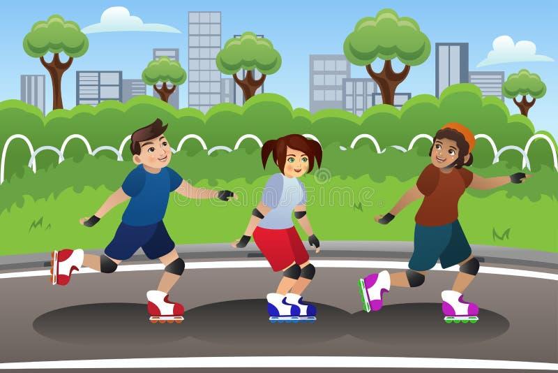 Kinder Rollerblading im Freien lizenzfreie abbildung