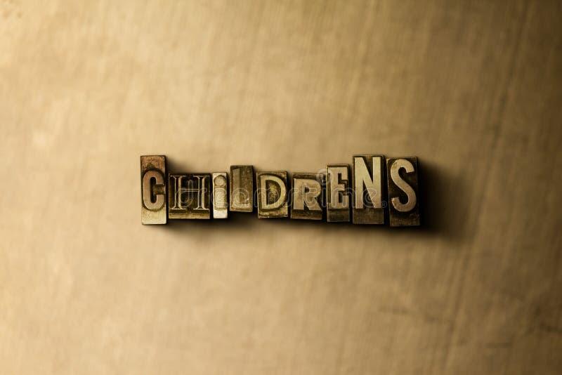 KINDER ' S - Nahaufnahme der grungy Weinlese setzte Wort auf Metallhintergrund stockbild