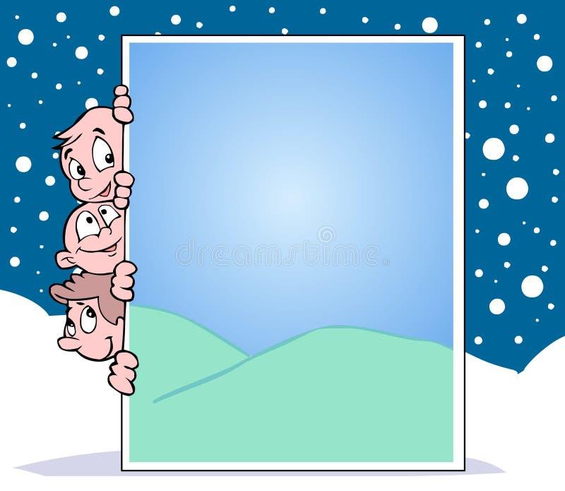 Kinder, Schnee, Sommer und Fahne lizenzfreie abbildung