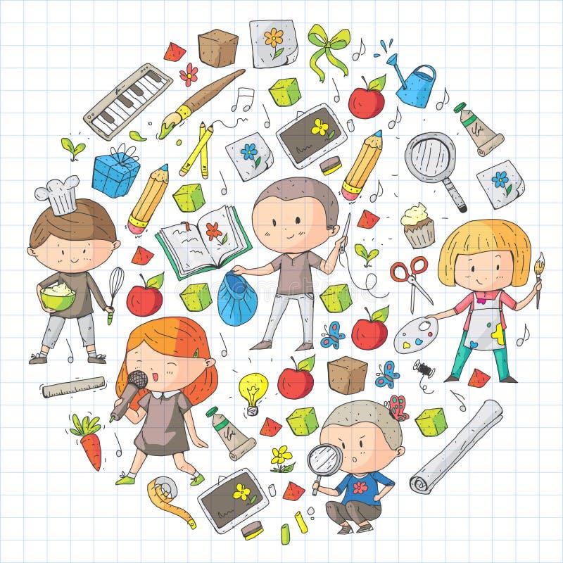 Kinder Schule und Kindergarten Kreativität und Bildung Musik erforschung wissenschaft phantasie Spiel und Studie stock abbildung