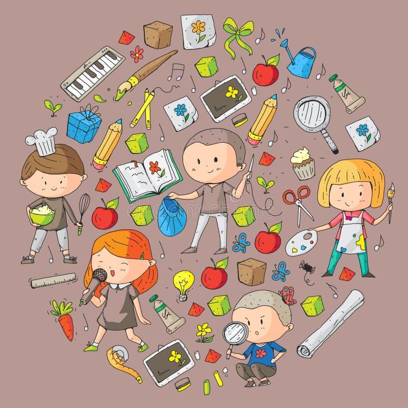 Kinder Schule und Kindergarten Kreativität und Bildung Musik erforschung wissenschaft phantasie Spiel und Studie lizenzfreie abbildung