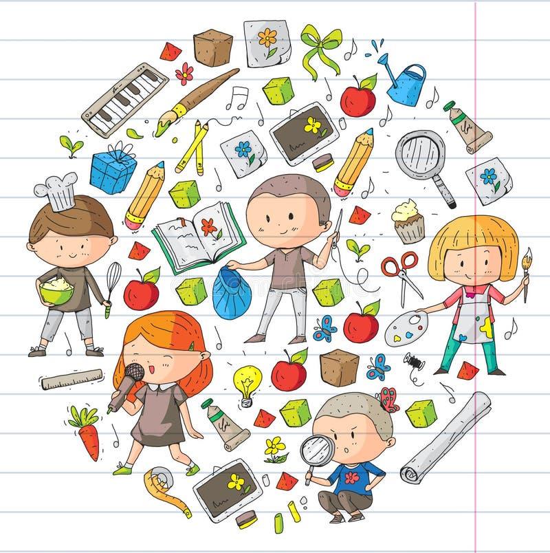 Kinder Schule und Kindergarten Kreativität und Bildung Musik erforschung wissenschaft phantasie Spiel und Studie vektor abbildung