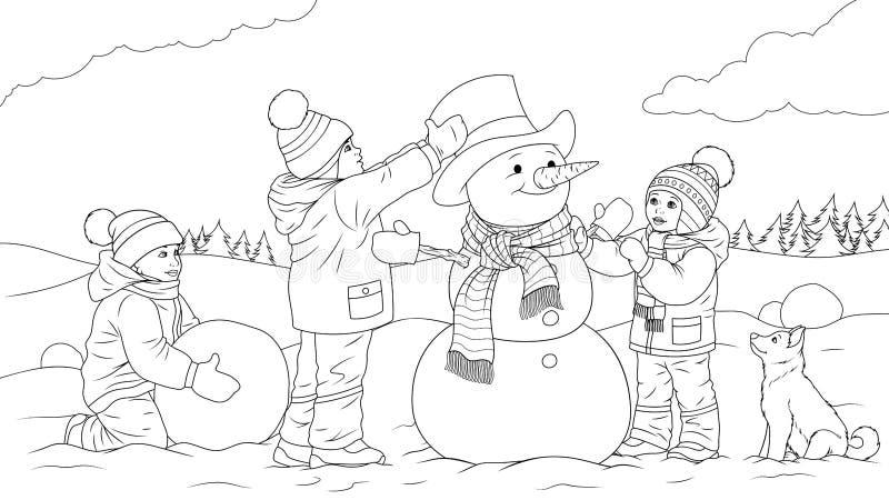 Kinder sculpt einen Schneemann lizenzfreie abbildung